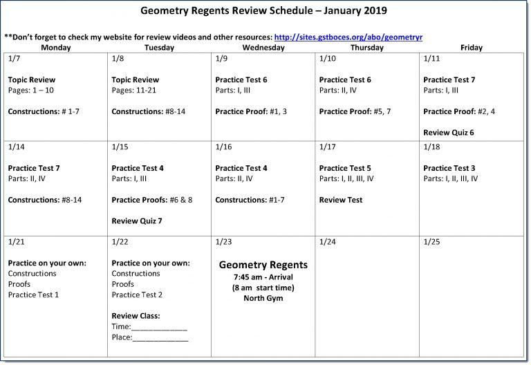 Geometry R - Regents Review - Mr. Bo - Math